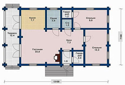 чертеж одноэтажного загородного дома