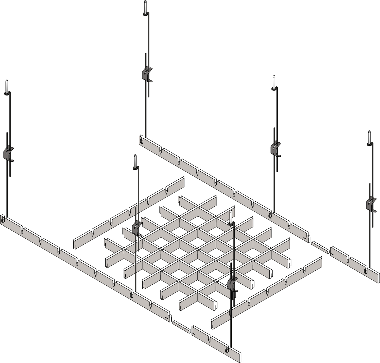 схема крепления потолка Грильято