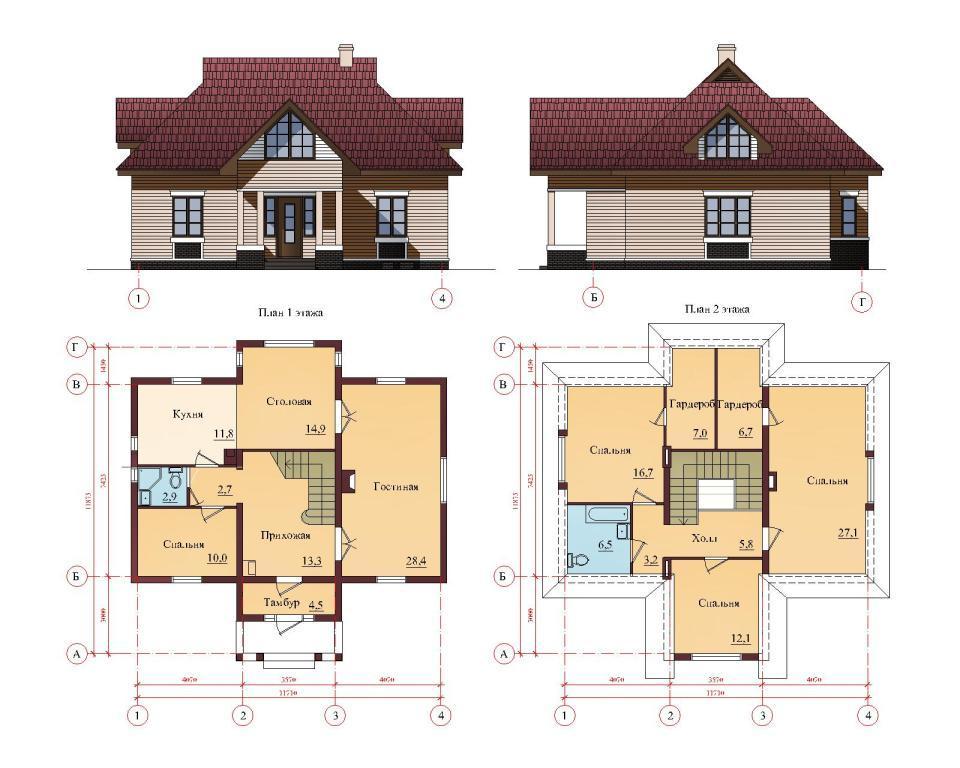чертеж дома с мансардной крышей