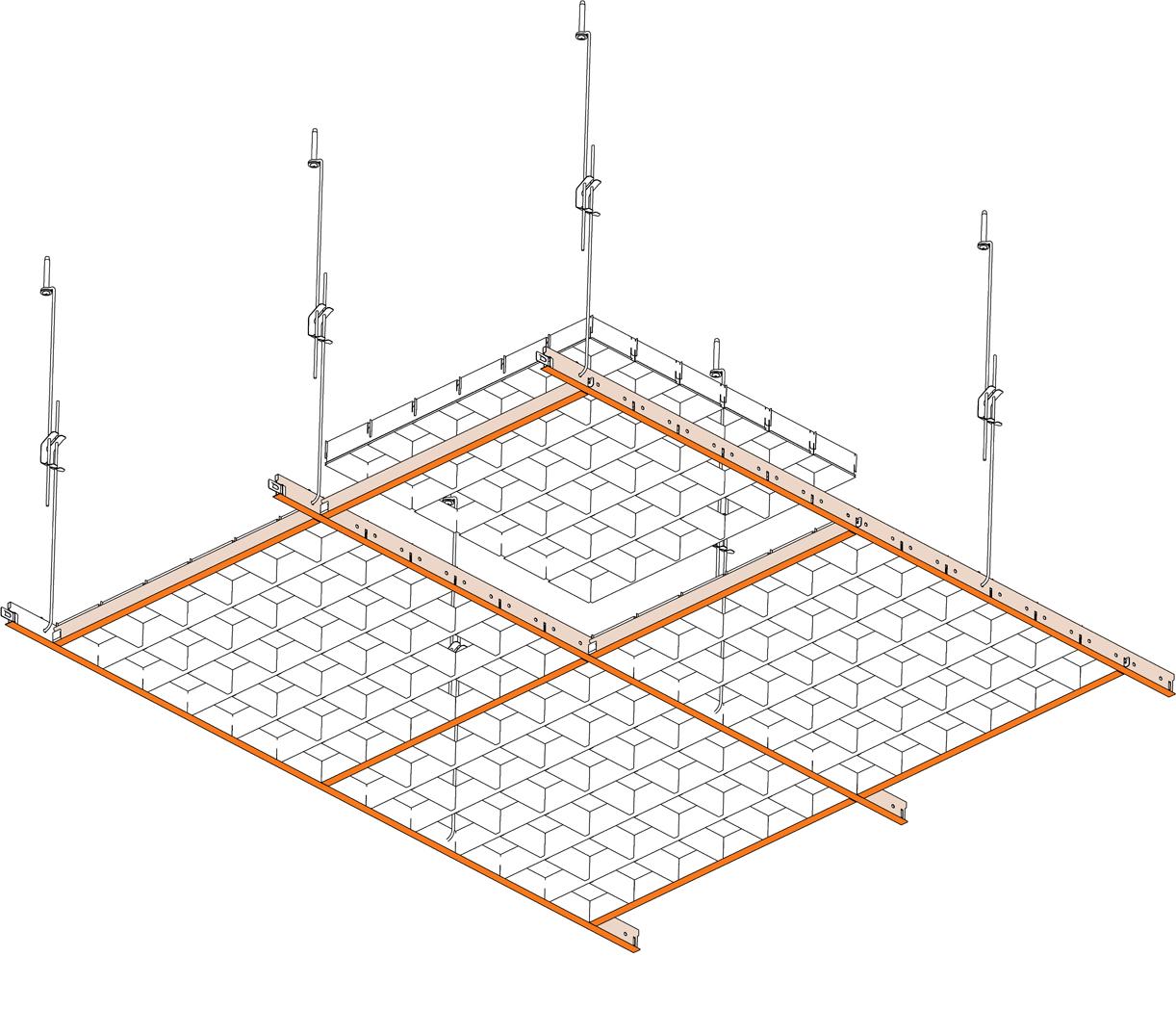 как подвесить потолок схема
